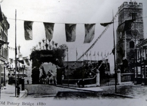 Stands erected to celebrate the end of the tolls (1880)
