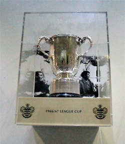 Replica of the League Cup photographed during a visit to the Rangers stadium in 2015